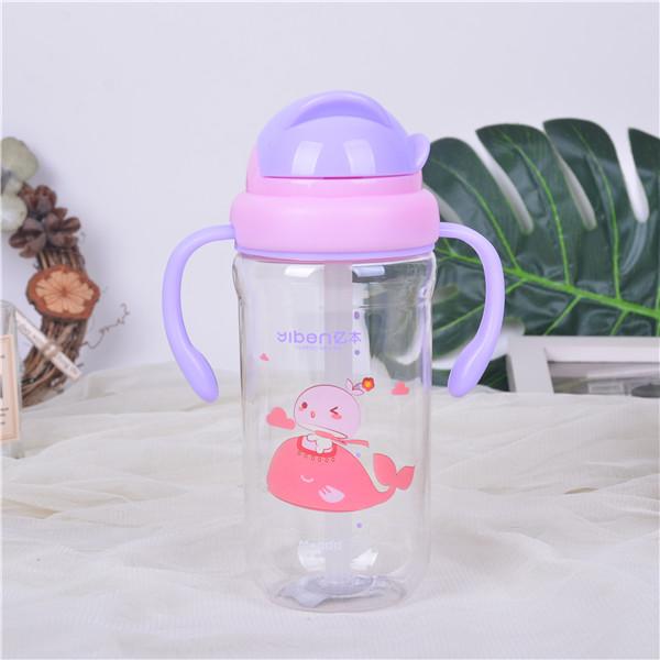 430ML亿本乐逗儿童吸管杯便携防漏塑料杯卡通背带水杯