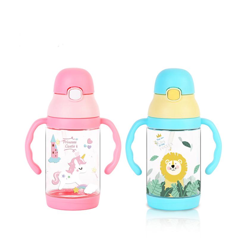 350ML童话儿童吸管杯双手柄背带两用塑料杯宝宝学饮杯