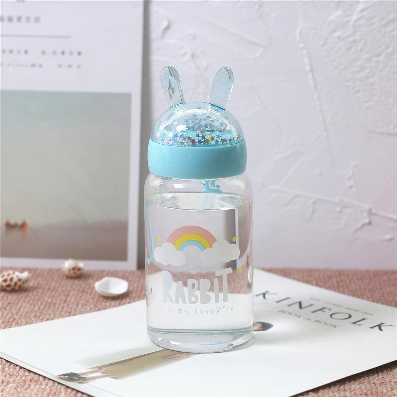 380ML亮片兔子玻璃杯学生便携水杯简约小清新杯子