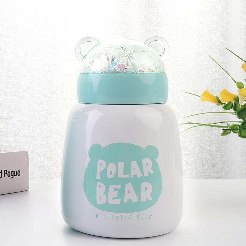 300ML韩版卡通亮片熊保温杯可爱小清新便携迷你大肚杯