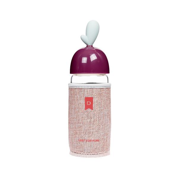 380ML创意心の形布套玻璃杯学生小清新隔热防烫随手杯