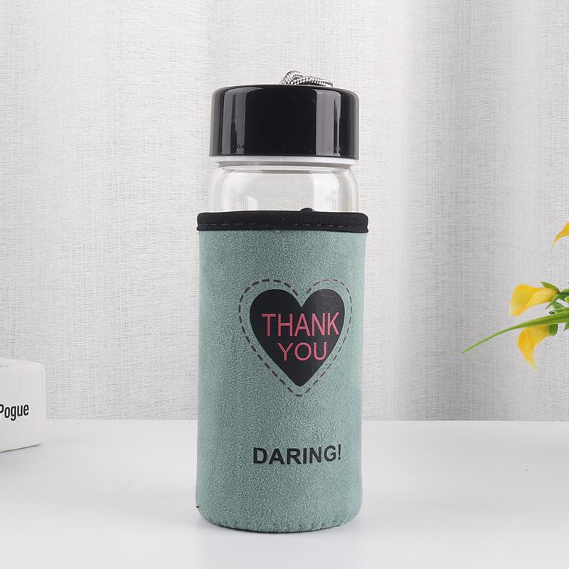 300ML韩版星星图案绒布套黑盖玻璃杯学生情侣手提杯子