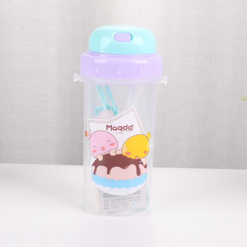 420ML亿本雨乐儿童水壶吸管塑料杯便携背带水杯子