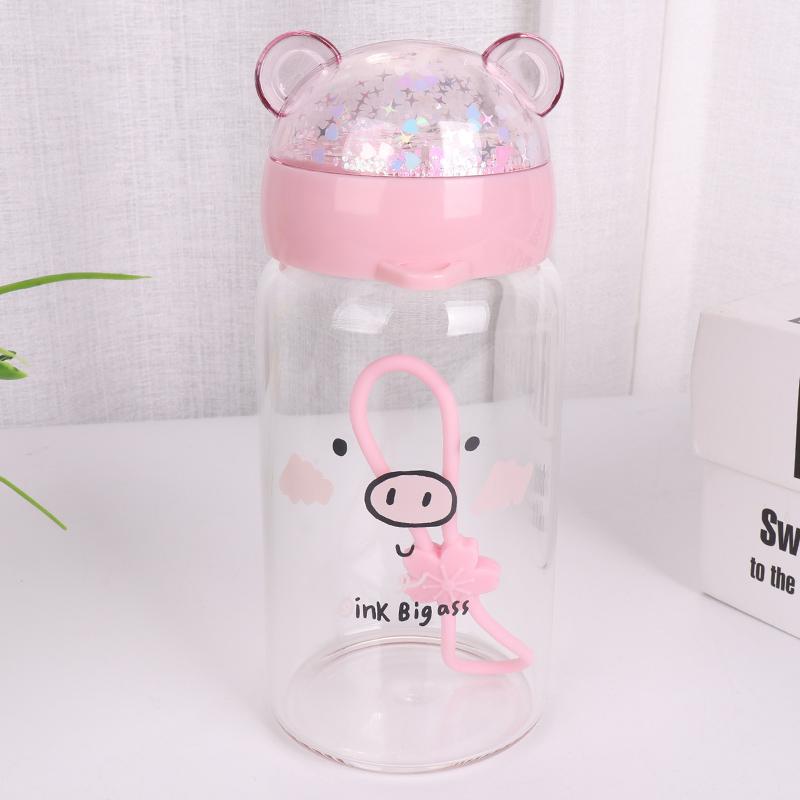350ML可爱亮片猪玻璃杯学生便携水杯简约小清新杯子