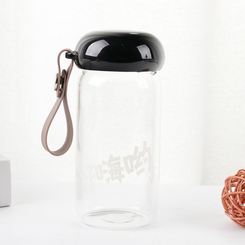350ML个性潮流好嗨呦亨特单层玻璃杯学生便携手提杯子