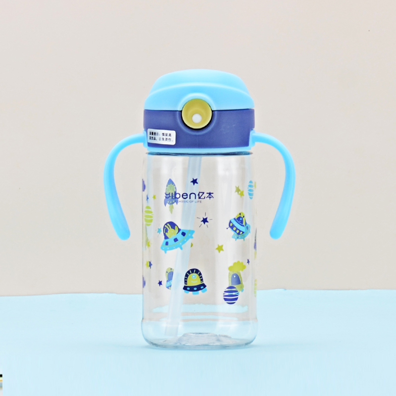 380ML亿本精灵儿童水壶吸管塑料杯手柄可爱卡通小杯子