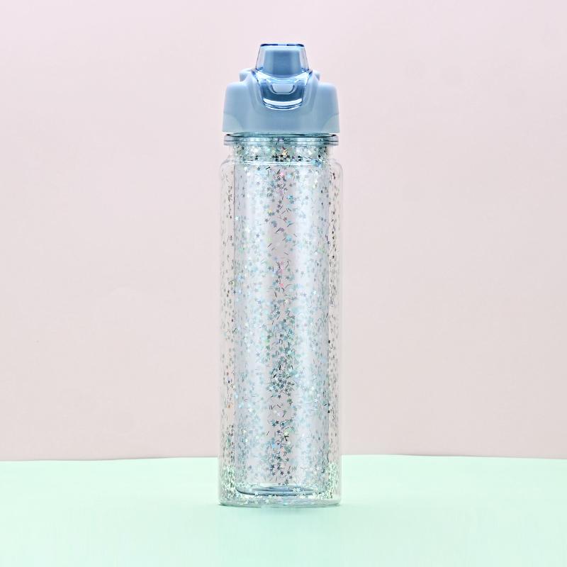 520ML亿本星彩太空杯创意亮片塑料杯按压手提盖水杯