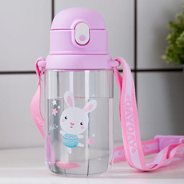 600ml可爱萌趣背带儿童塑料杯卡通背带便携宝宝水壶