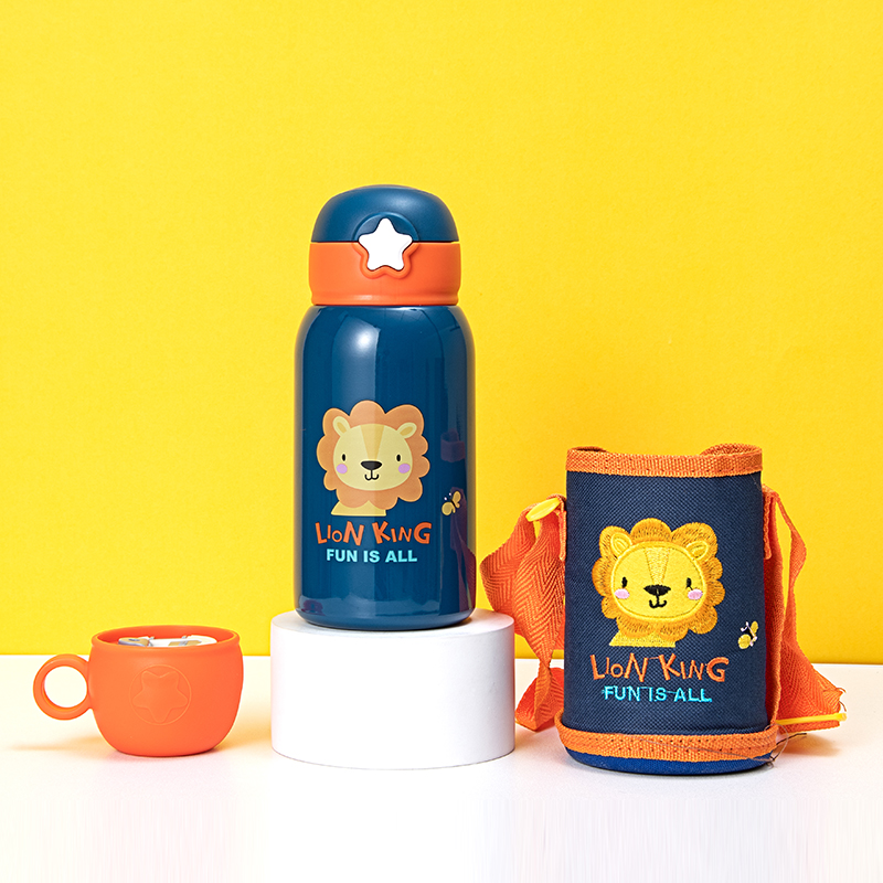 600ML卡通头像双用杯盖儿童壶316不锈钢背带保温杯