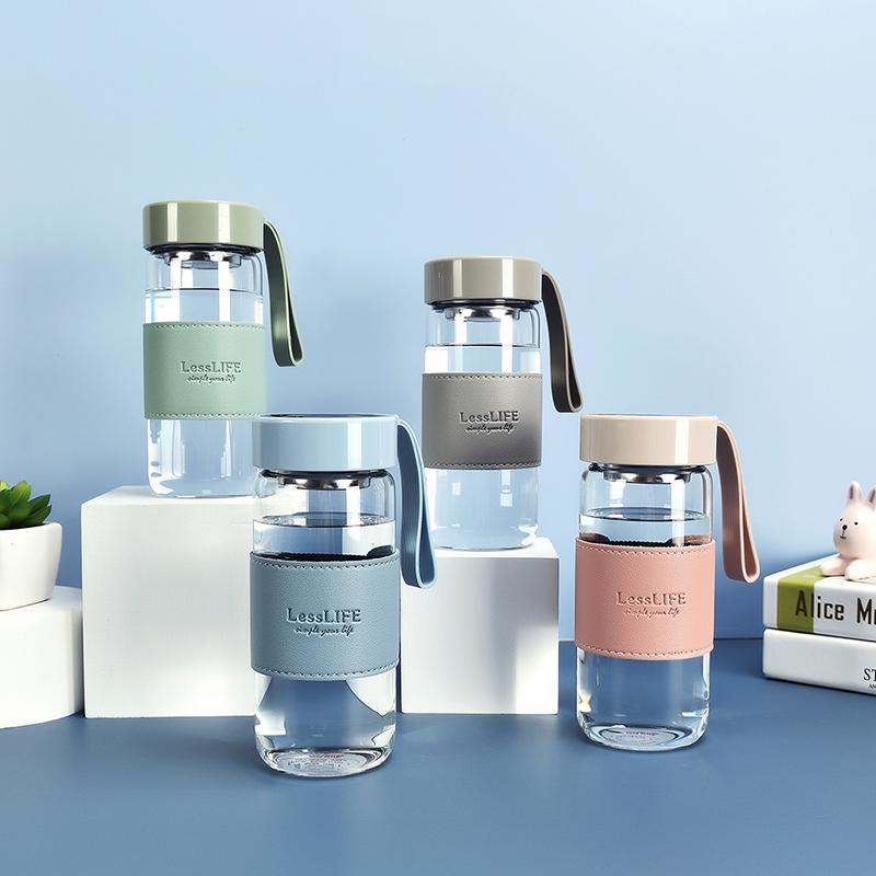 480ML创意杯套款迪欧玻璃杯简约清新个性便携随手杯