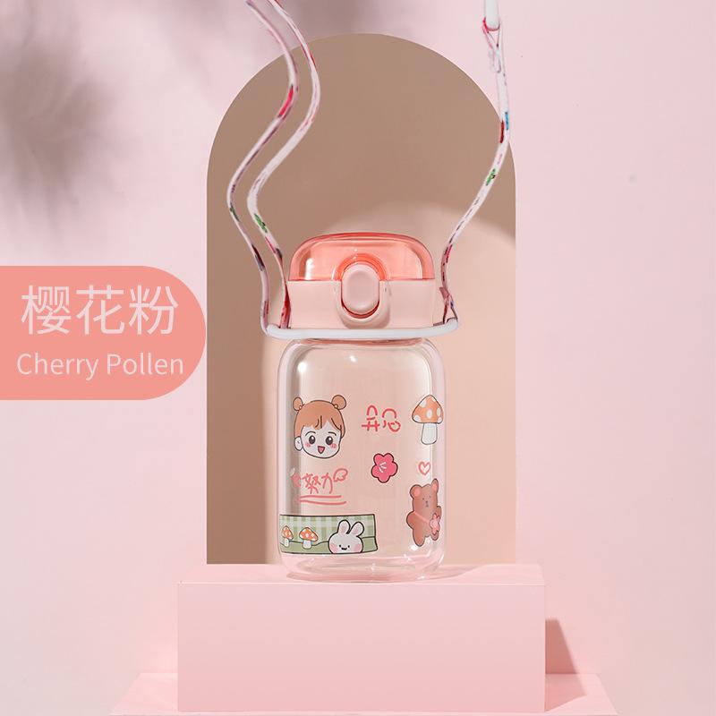 350ML创意DIY贴纸玻璃杯小清新弹跳盖水杯送背带