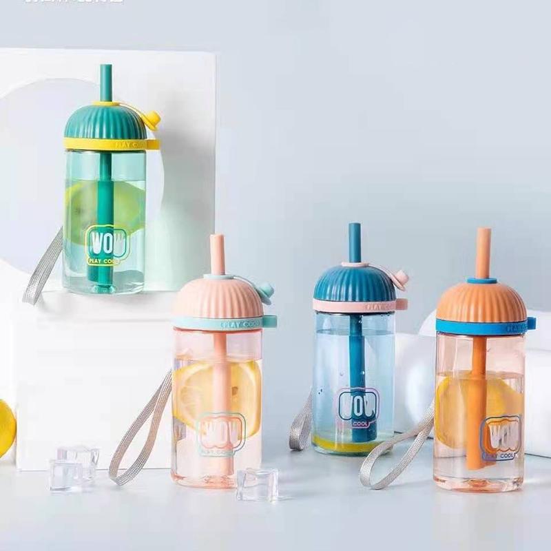 300ML酷派吸管塑料杯学生可爱小清新便携提绳随手杯