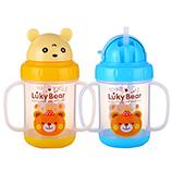 280ML创意宝宝水杯卡通幸运熊婴儿学饮杯双手柄塑料水壶