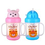 280ML卡通幸运熊吸管宝宝水杯双手柄儿童水壶婴儿学饮杯