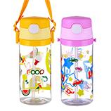 430ML卡通森林儿童水壶宝宝吸管塑料水杯便携背带杯子
