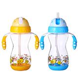 400ML创意童趣儿童水杯卡通宝宝吸管水杯双手柄学饮杯子