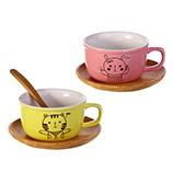 150ML创意陶瓷情侣水杯卡通桌面咖啡杯碟简约牛奶杯子