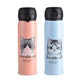 500ML可爱猫咪弹盖真身保温杯 双层不锈钢真空保温运动水壶