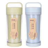 400ML创意秸秆料随手杯 双层便携提手水杯子 情侣麦香咖啡杯