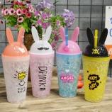 480ML夏日随手冷饮杯制冷学生卡通酷兔冰杯塑料水杯