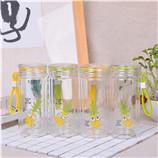240ML菠萝透明盖玻璃杯透明双层学生便携杯子耐高温水杯