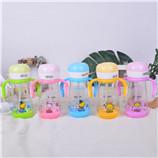 310ML蘑菇点点爱乐儿童塑料杯吸管杯双手柄弹盖宝宝学饮杯