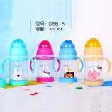 350ML好奇动物儿童塑料杯奶嘴吸管两用宝宝学饮杯