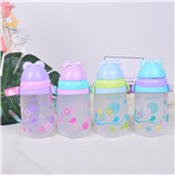 380ML亿本伊贝儿童水壶卡通宝宝塑料吸管太空杯背带水杯