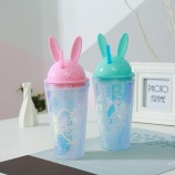 550ML七彩兔子耳朵冰杯时尚双层吸管塑料冰酷杯