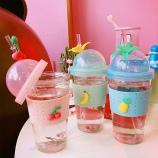 450ML创意缤纷盛夏吸管玻璃杯小清新水杯情侣随手杯