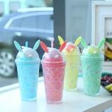 450ML冰淇凌兔耳朵冰杯学生双层带盖吸管塑料水杯