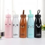 450ML韩版硅胶帽卡通表情牛奶瓶保温杯创意不锈钢随手杯