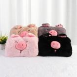 韩版卡通可爱笑脸猪充电热水袋毛绒双插手电暖宝
