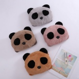 卡通圆脸熊猫充电热水袋毛绒双插手可拆洗电暖袋