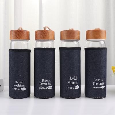 400HL创意流行英文木纹盖布套玻璃杯隔热防烫随手杯