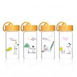 280ML韩版心趣系列玻璃杯创意木纹盖小清新杯子