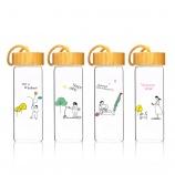 350ML韩版心趣系列玻璃杯创意木纹盖小清新杯子