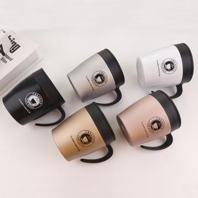 330ML创意咖啡杯保温杯带手柄304不锈钢杯子送勺子
