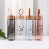 360ML潮流时尚英文线条提手塑料杯单层透明木纹盖杯子