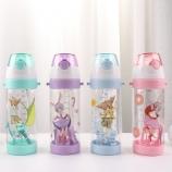 550ML卡通儿童背带吸管塑料杯弹跳盖宝宝学饮杯子