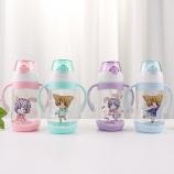 450ML卡通双手柄儿童弹跳盖塑料杯宝宝吸管杯子
