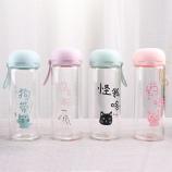 320ML韩版思考喵生单层玻璃杯学生小清新水杯子