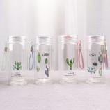 240ML韩版仙人掌透明盖双层玻璃杯学生情侣水杯子