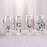 280ML韩版仙人掌透明盖双层玻璃杯学生情侣水杯子