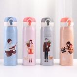 500ML韩版相知相伴弹盖保温杯学生情侣不锈钢水杯子