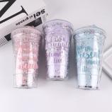 480ML创意涂鸦星星双层滑盖塑料杯可爱随手杯吸管杯子