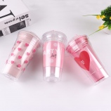 480ML韩版粉色系少女心双层滑盖塑料杯小清新吸管杯子