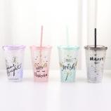 450ML卡通独角兽吸管冰杯夏日冰酷杯塑料水杯随手杯