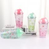 450ML水果双层盖冰杯夏日冰酷杯学生吸管塑料杯子
