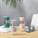 350ML创意硅胶手提玻璃杯学生单层透明随手杯